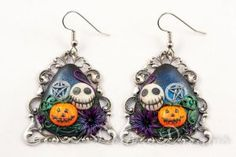 Samhain Earrings Polymer Clay Skull Pumpkin by DeidreDreams