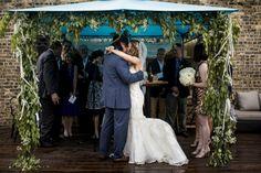 Chuppah with eucalyptus leaves found on Modern Jewish Wedding Blog. Photo by Steve Koo.