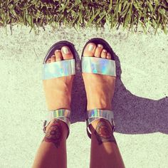 Holographic sandals. I LOVE these.