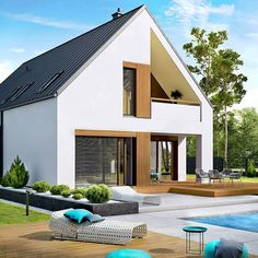 Minimal House Design, Minimal Home, Small House Design, Style At Home, Mountain Home Exterior, Roof Architecture, Exterior Remodel, Home Fashion, Modern Farmhouse