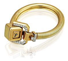 CARTIER A LADY'S 18CT GOLD AND DIAMOND SET BRACELET WATCH CIRCA 1940 Jewelled lever movement, two tone dial, square buckle-form case dial signed on an integrated 18ct gold snake link bracelet with diamond set locking clasp,