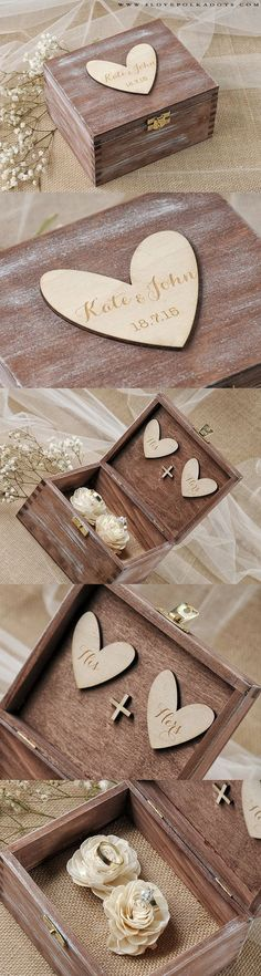 Wedding Wooden Ring Bearer Box with Custom Engraving ♥ #weddingideas #ringbox