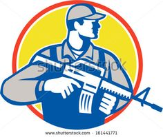 Illustration of an American soldier serviceman with assault rifle facing side looking up set inside circle on isolated white background. - stock vector #soldier #retro #illustration