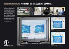 Supreme Security: Job offer in luggage scanner Recruitment Advertising, Employer Branding, Creative Jobs, Job Ads, Job Offer, Guerrilla, Retail Design, Clever, Social Media