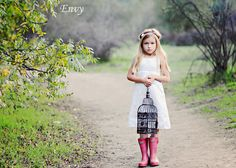 adorable, white dress and rainboots!