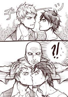Keith Shadis definitely ships Jean x Eren~ <3 (Shingeki no Kyojin) Not my ship! I repeat, NOT, MY, SHIP!