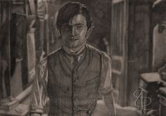 Daniel Radcliffe in 'The Woman in Black'. Freehand sketch using 2B pencil and eraser. Darkened, tinted and background blurred digitally.