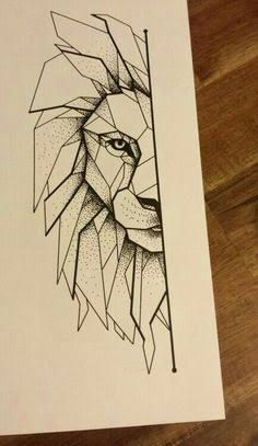 Image result for geometric lion drawing