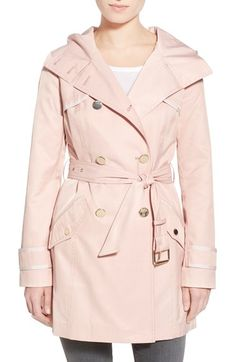 GUESS Hooded Double Breasted Trench Coat available at #Nordstrom