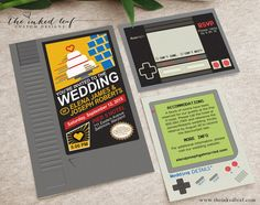 Nintendo NES Cartridge Mario - Inspired Nerdy or Geek Chic Wedding Invitation Suite with Game Boy Classic Info Card, and Controller RSVP