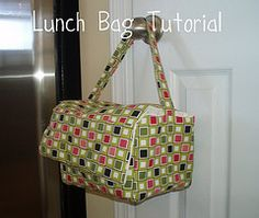 Lunch Bag Tutorial A friend of mine from work asked me if I could make her a lunch bag. She had been using Kroger (local grocery store) bags to take her lunch to and from the office. While we do have a fridge at work, food would stay colder in an insulated lunch bag. So I set out, drafted and created this for her: