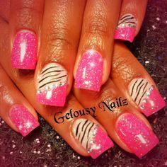 Bling nail design pink
