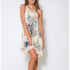 New Summer Ladies Elegant Floral Print Lace Dress Vintage O Neck Sleeveless Casual Slim Brand XL Loose Plus Size Vestidos