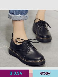 0db68095e927 Flats Fashion Womens Low Heels Oxford Lace Up Platform Casual British  Brogue Shoes