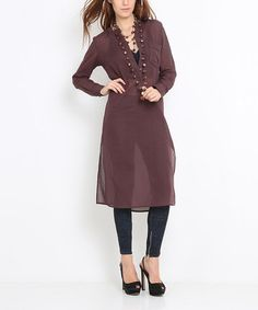 This Brown Sheer Button-Front Tunic is perfect! #zulilyfinds $27