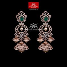 Mesmerizing collection of gold earrings from Kameswari Jewellers. Shop for designer gold earrings, traditional diamond earrings and bridal earrings collections online. Diamond Jhumkas, Diamond Earing, Diamond Studs, Diamond Jewelry, Gold Jewelry, Gold Mangalsutra, Jewelry Sets, Jewelry Accessories, Indian Jewelry Earrings