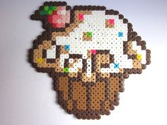 Medium Cupcake Magnet perler beads by shopCreativeOutlet