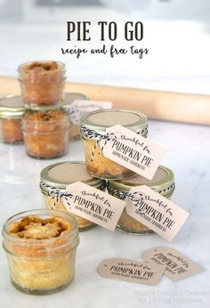 Mason Jar Pies To Go with Free Printable Tags - perfect for any holiday gathering! Get the instructions, recipes, and free downloads at iheartnaptime.com More