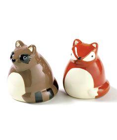 Loving this Fox & Raccoon Salt & Pepper Shakers on #zulily! #zulilyfinds