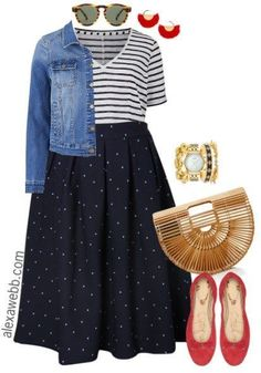 Plus Size Navy Dot Skirt Outfits - Plus Size Fall Outfit Ideas - Plus Size Fashion for Women - alexawebb.com #alexawebb