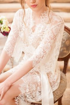 Image of Swan Queen lace kimono bridal robe in ivory - style 102 Lace Bridal Robe, Bridal Robes, Wedding Lingerie, Lace Silk, Lace Kimono, Wedding Photography Examples, Silk Romper, Bridesmaid Robes, Chantilly Lace