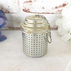 Vintage 6 cup Tea infuser Tea Strainer Silver toned tin aluminum Metal tea ball Steeper kettle kitchen coffee loose tea leaf leaves by WonderCabinetArts