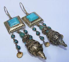 einzigartige Orientalische tibetische design Afghan Silber Ohrringe earring 183