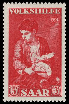 Germany (Saar) Stamp 1954 - 354 Bartolomé Esteban Murillo - Gassenbub mit Melone
