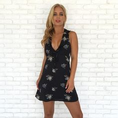 Description This little black dress features a deep v-neckline with ruffle detail and an open back with an invisible zipper. 100% Lined. 100% Polyester Wash Col