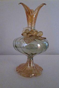 Splendida ampolla in vetro soffiato misure 14x7,5 con decorazione gafo