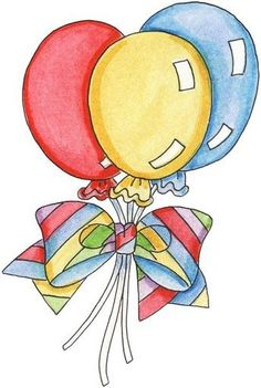 Balloons with striped ribbons