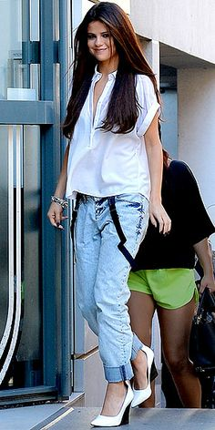 Would You Wear These Denim Trends? | SUSPENDERS | Boyfriend jeans are tricky enough to pull off on their own (they can't be too slouchy or they'll look like you actually took them from a boy's closet), so we're not sure how we feel about Selena Gomez's addition of dangling suspenders.