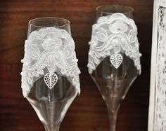Gran Gatsby 2 vasos de boda champagne tostado por handmadeBYmamas