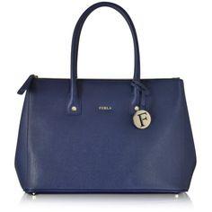 Furla Handbags Linda Navy Leather Medium Tote ($260) ❤ liked on Polyvore featuring bags, handbags, tote bags, navy blue, blue tote bag, leather handbags, genuine leather tote, navy leather tote and zip top tote