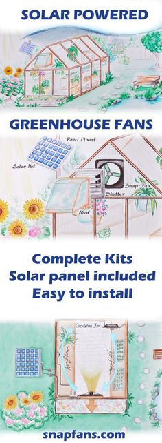 solar powered greenhouse fans. keep your greenhouse cool and give you plants the fresh air they need with power from the sun. greenhouse fans that are solar powered are perfect for homestead and off grid applications. snapfans.com offers complete kits that are easy to install. #greenhousegardening