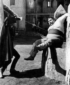 Zorro makes a point with Sgt. Garcia (Henry Calvin)