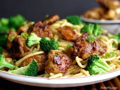 Noble Pig Sticky Asian Chicken Spaghetti - a perfect quick and easy dinner!