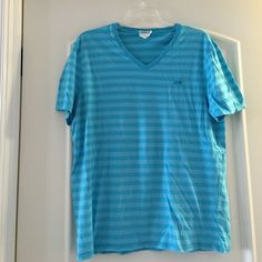 Men's Lacoste shirt Mens blue Lacoste t-shirt, stripe shirt, size 6, great condition, worn a few times. Beautiful color Lacoste Tops Tees - Short Sleeve