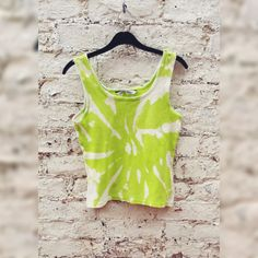 Tie Dye Tank Top Lime & Cream to fit UK size 14 - 16 or US size 10 - 12 Autumn Trends