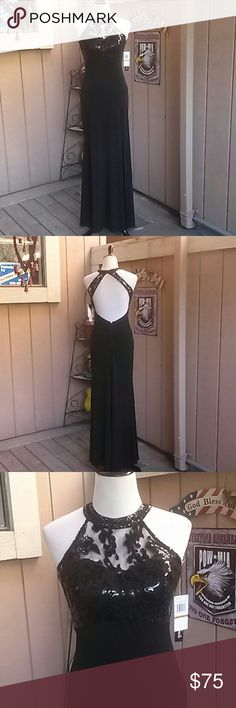 Junior's formal gown Junior's long formal gown with sequin and lace bodice. Dress zips in back and fasteners at neck. Dress has split over left leg. Sequin Hearts Dresses Backless