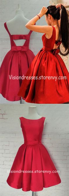 1d6a7108a120 Red Scoop Neckline Open Back Homecoming Dresses, Short Satin Homecoming  Dresses, Charming Homecoming Dresses