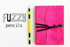DIY fuzzy pencils.