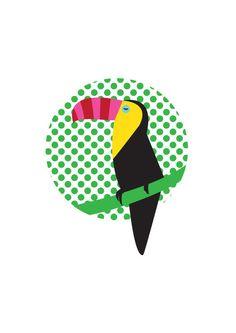 Colour Toucan Art Print. Digital illustration of a by HelloPants.
