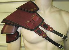 SENTINEL SEGMENTED LEATHER DOUBLE STRAP ARMOR SHOULDER LARP COSPLAY | eBay