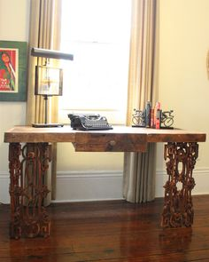 The Piety Office Desk Made Reclaimed Wood And Wrought Iron