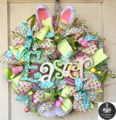 Easter wreath burlap wreath Easter Deco by MrsChristmasWorkshop