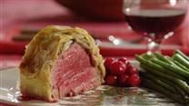Filet of beef tenderloin is assembled with liver pate, mushrooms and onions, then wrapped in packaged puff pastry. It bakes quickly and makes a beautiful dinner party entree.