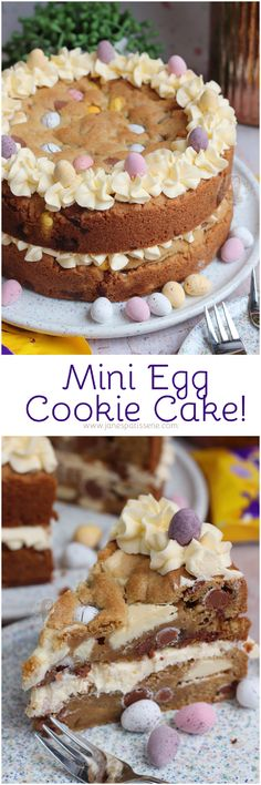 Two Layer Mini Egg Cookie Cake with Vanilla Buttercream Frosting and ALL the Mini Eggs!Quite a long time ago, I posted a recipe for my whic Cupcake Recipes, Baking Recipes, Cupcake Cakes, Dessert Recipes, Baking Ideas, Egg Recipes, Recipies, Holiday Desserts, Holiday Baking