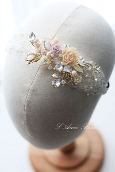 Rose Bridal Head band Shabby Country Wedding Romantic by LAmei Pulling Weeds, Romantic Weddings, Veils, Christmas Bulbs, Shabby, Bridal, Band, Country, Trending Outfits