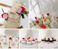 Naked cake with fresh roses cake pops and cookies